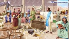 Jesus cleanses the temple (overturning the tables)