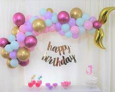 Sirena Decoracion Banner Remolinos Colgantes Toppers Para Cumpleaños De Niña Set