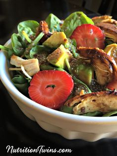 Spinach Berry Balsamic Glazed Chicken Salad with Raspberry Chia Vinaigrette | Sweet, Creamy, Satisfying | Only 320 Calories | 21 Grams Protein! | For MORE RECIPES, fitness & nutrition tips, please SIGN UP for our FREE NEWSLETTER www.NutritionTwins.com