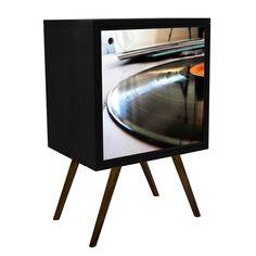 Buffet Retro 0119 Disco 1 Porta Preto.    - MDF BP: - Impressão UV; - Acabamento em laca PU fosco.