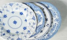 Mismatched Blue and White Plates for Weddings by RosebudsOriginals