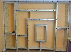 photo-manufacture Source by ottowax Building Shelves, Angled Bedroom, Craft Table Diy, Diy Metal, Bookcase Storage, Living Room Wall Designs, Plafond Design, Home Decor, Osb
