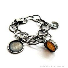 sterling silver bracelet amber por jolantakrajewska en Etsy