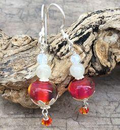 Lampwork Glass Earrings, Pink Glass Earrings, Glass Earrings, Pink Earrings, Fire Opal Earrings by ASplashOGlass on Etsy