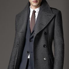 Virgin Wool Houndstooth Greatcoat by Burberry