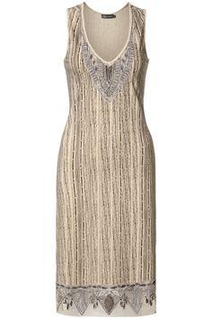 V-hals jurk met borduurwerk Beige