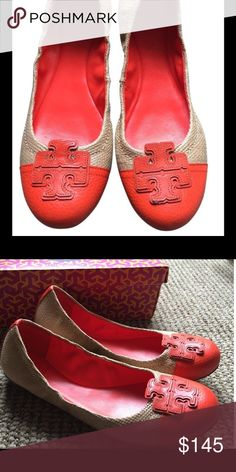 🌺Tory Burch Flats - Great condition🌺 Tory Burch Carita Flats are in great condition. Only sign of wear is on the bottom of shoes. Orange and tan color. Tory Burch Shoes Flats & Loafers