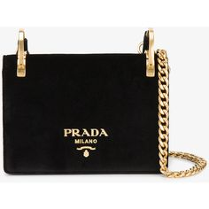 Prada Velvet Pattina Bag With Gold Chain ($1,745) ❤ liked on Polyvore featuring bags, handbags, clutches, gold evening purse, chain strap shoulder bag, gold evening clutches, evening clutches and gold shoulder bag