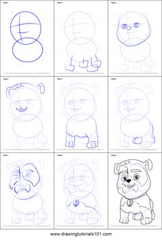 How to Draw Jim Gaffigan from PAW Patrol Printable Drawing Sheet by DrawingTutorials101.com