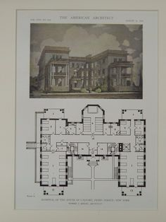 Hospital of the House of Calvary, Perry Street, New York, NY, 1919, Original Plan. Robert J. Reiley.