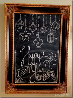 New Year chalk art via Elegant Nest