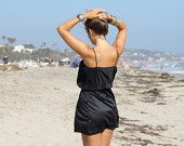 70s black mini dress with ribbed top