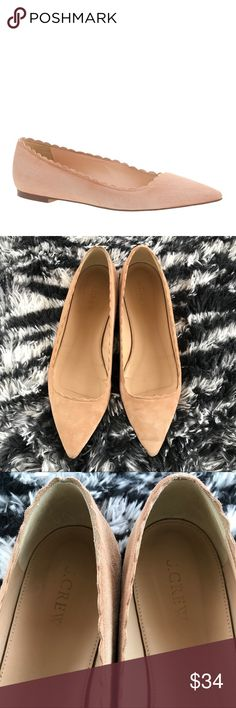 J. Crew Harper Scalloped Suede Nude Pointy Flats Soft suede Leather lining Worn; in good condition J. Crew Shoes Flats & Loafers