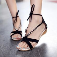 Girls Sexy Flat Heel Beaded Lacing Small Wedges casual Shoes Sandals