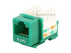 Monoprice Cat6 Punch Down Keystone Jack - Green - http://www.audiovideocabledeals.com/adapters/adapter-audiovideo-keystone-jacks/monoprice-cat6-punch-down-keystone-jack-green/
