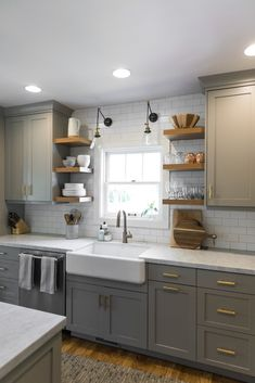 Diy Kitchen Remodel, Home Decor Kitchen, Kitchen Interior, Home Kitchens, Small Cottage Kitchen, Kitchen Remodeling, Small Kitchens, Kitchen Modern, Window Decorating