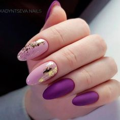 STUNNING GOLD FOIL NAIL DESIGNS TO MAKE YOUR MANICURE SHINE; #GoldFoil #NailArt #NailedIt #GoldNails Pink Nails, Matte Nails, Gold Tip Nails, Purple Manicure, Foil Nail Designs, Manicure Nail Designs, Manicure At Home, Nail Manicure, Nail Polish