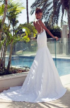 Nurit Hen Style / 2014 Backless Wedding Gown Mermaid Sweetheart Spaghetti Straps Appliques Lace Court Mermaid Wedding Dresses
