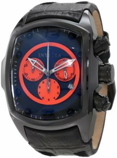 Invicta Men's 10286 Lupah Chronograph Black Dial Black Leather Watch Invicta. $219.99. Chronograph functions with 60 second, 30 minute and 1/10 of a second orange subdials; date function. Flame-fusion crystal; black ceramic case; black leather strap. Swiss quartz movement. Black dial with black and white hands, black hour markers; luminous; black ion-plated stainless steel crown and pushers. Water-resistant to 30 m (99 feet)