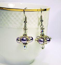 Light Purple Dangle Earrings, Bead Earrings, Beadwork Earrings, Pearly Earrings, Light Purple Earrings - pinned by pin4etsy.com