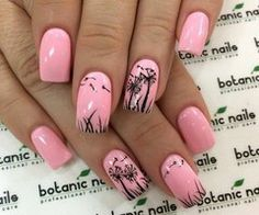 Glamorous nail art with dandelions outlined on the baby pink nails. nail designs for fall elegant nail designs for short nails nail stickers walmart nail art stickers walmart best nail polish strips 2019 Nail Art Designs 2016, Short Nail Designs, Nail Designs Spring, Fancy Nails, Cute Nails, Pretty Nails, My Nails, Dandelion Nail Art, Dandelion Designs