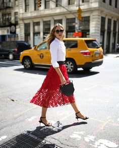 red tulle midi skirt with a white button down