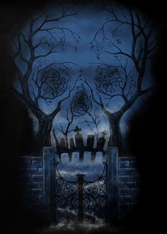Tree, graveyard, gate - created the image of skull  sacred, mysterious, darkness and death - style for a gothic art
