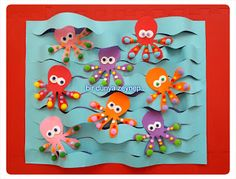 eva ve ponponlardan ahtapotlarımız. Octopus Crafts, Ocean Crafts, Fish Crafts, Diy And Crafts, Arts And Crafts, Paper Crafts, Diy For Kids, Crafts For Kids, Art N Craft