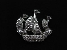 Vintage Sailing Ship Brooch / Pin Silver Tone by ChryssalasStore, $25.00