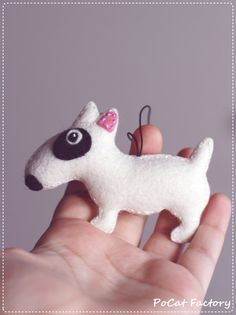 Bull terrier felt dog brooch or keychain or magnet by PoCatFactory - Tap the pin for the most adorable pawtastic fur baby apparel! You'll love the dog clothes and cat clothes! Dog Crafts, Felt Crafts, Felt Christmas, Christmas Crafts, Felt Dogs, Dog Ornaments, Felt Brooch, Sewing Toys, Felt Art