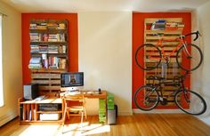 Turn Pallets into shelves, magazine, book stereo equipment or even a bicycle rack~