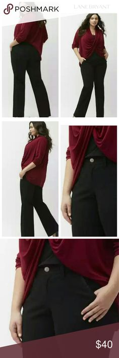 New SATEEN BOOTCUT PANTs career work black Click on size to purchase, add to a bundle  The flattering bootcut silhouette is an essential, and in sleek stretch sateen, this versatile pant is up for anything. Flattering mid-rise pant is fitted through the hip and thigh with a gentle kick at the ankle. Button & zip fly closure, with belt loops.  Machine Wash Cotton Lycra Lane Bryant Pants