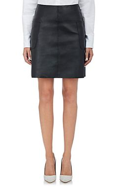 Barneys New York Leather A-Line Skirt - Mini - Barneys.com