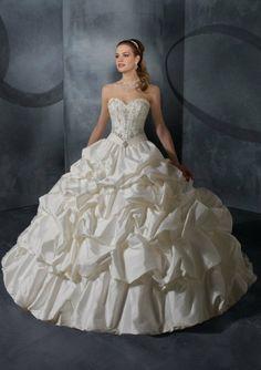 Taffeta Strapless Sweetheart Embroidered Bodice Ball Gown Wedding Dress - Wedding Dresses Australia