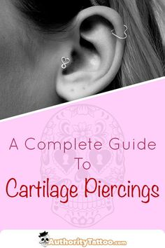 Everything you need to know about cartilage piercings, including: Pain, Aftercare, Healing Times, Ri Infected Ear Piercing, Cartilage Piercing Infection, Cool Ear Piercings, Types Of Ear Piercings, Multiple Ear Piercings, Double Tongue Piercing, Double Cartilage Piercing, Cartilage Piercings, Tongue Rings