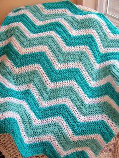 chevron zig zag baby blanket afghan crochet knit wrap lap wheelchair ripple stripes lion brand VANNA WHITE choice yarn aqua made in the USA