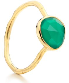 Monica Vinader Gold Vermeil Green Onyx Siren Stacking Ring | Jewellery | Liberty.co.uk