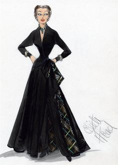 A costume sketch by Edith Head for Gloria Swanson for the costume worn in her first appearance in the film Sunset Blvd. The costume fabric lining was changed for the film.