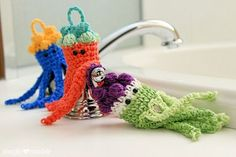 Get out your hook and create some fun tub time for the little surfers in your life. Our jellyfish crochet bath scrubbies make great little gifts!
