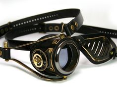 STEAMPUNK MONOGOGGLE and EYEPATCH  black leather blackened