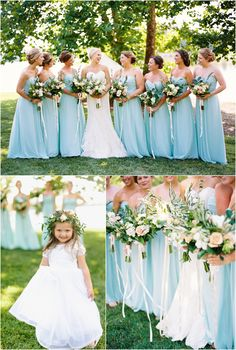 Bridesmaids with blue gowns and a cute flower girl! At Hunter Valley Farm in Knoxville TN