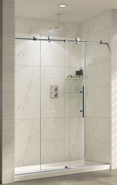 trident 60 x 62 single sliding frameless shower door - Glass Shower Door Hardware