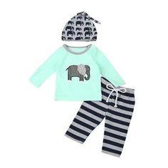 3pcs set Baby boys clothes Elephant Toddler Infant Baby Boy Elephant 3pc Set Tops+Pants+Hat