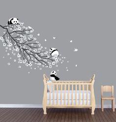 Rev.Long Flower Branch Panda Nursery Sticker, Animal Wall Art, Flower Wall Decor #NurseryDecalsandMore