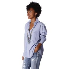 Poplin oversized shirt In Blue And White Fine Stripe – Fashion Gal Freedom