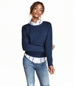 Check this out! Soft, fine-knit sweater with wool content. Reverse-stitched seams on sleeves and cuffs with rolled edges. - Visit hm.com to see more.
