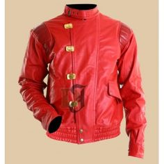 Akira Kaneda Pill Red & Black Motorcycle Leather Jacket
