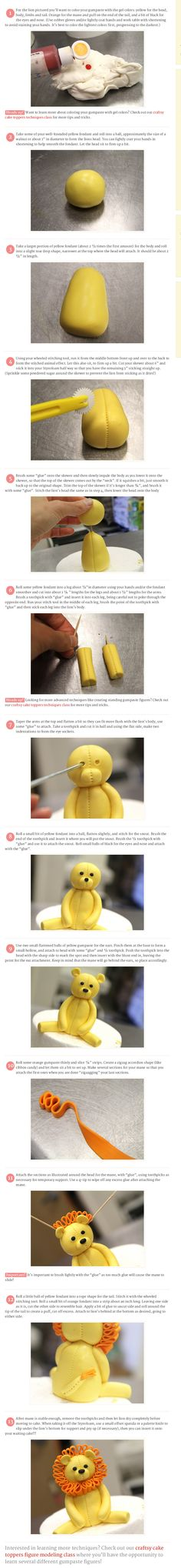 Tutorial: How to make a cute lion cake topper!  Interesting in learning more about creating cake topper figures?  Check out our craftsy class online at http://university.pinkcakebox.com/classes/cake-topper-techniques-class/