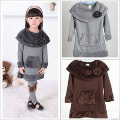 baby girls fleece dress kids thick long sleeve flower dress children autumn winter clothing free shipping-in Dresses from Apparel & Accessories on Aliexpress.com