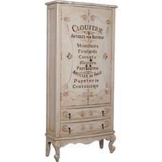 French Shabby Lingerie Armoire ($2,275) ❤ liked on Polyvore featuring home, furniture, storage & shelves, armoires, colored furniture, mahogany shelves, french lingerie chest, door shelf and mahogany furniture